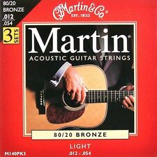 3 Sets MARTIN ACOUSTIC GUITAR STRINGS LIGHT 12-54  3  X  SETS ( LOOK )