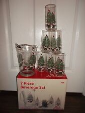 "Crisa ""Carolina"" 7 Piece Christmas Beverage Set ~ 1 Pitcher & 6 Beverage Glass."