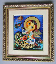Angel Holding a Star on Fish, Reverse Painting on Glass,Glitter, Khacko N.