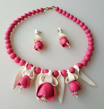 Pink polymer fuchsia flowers statement necklace earrings set life-size blooms