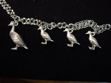 """JJ"" Jonette Jewelry Silver Pewter 'DUCK & Ducklings' 7 1/2"" Bracelet"