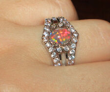 fire opal Cz ring gems silver jewelry 6 8 engagement cocktail vntg style band G5