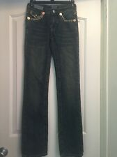 TRUE RELIGION A22 100% Cotton Blue Billy Straight Leg Jeans Size 26 (24x32)
