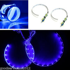 One Pair New Type Blue LED 15SMD Angel Eye Halo Ring Headlight Projector Strips