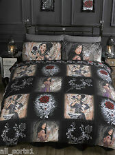 ALCHEMY GOTHIC STORY OF THE ROSE LADIES MENS BLACK SUPER KING DUVET COVER SET