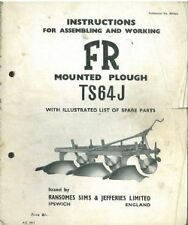RANSOMES PLOUGH TS64J OPERATORS MANUAL