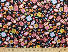 Mini Morsels Pizza Lover Pepperoni Black Cotton Fabric Print by the Yard D768.20