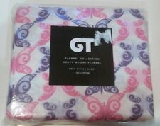 Butterflies GT Flannel Collection Twin Fitted Sheet Cotton Kids Girls Bedroom