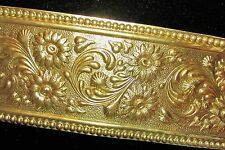 """Brass Lamp Shade Banding Stamped Floral 2 1/2"""" Furniture Trim 12"""" (by the foot)"""