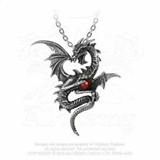 Alchemy Gothic Pewter Aethera Draconem Dragon Red Orb Pendant Necklace P756