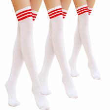 Men Women Sport Athletic Soccer Stripe Long Socks Over Knee Thigh High Stocking