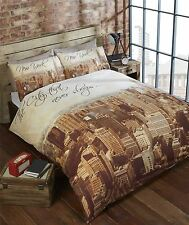 SEPIA NEW YORK SKYLINE BEIGE BROWN CREAM DOUBLE DUVET COVER 200X200CM