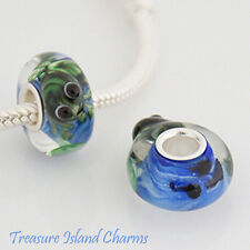 FROG IN A POND LAMPWORK MURANO GLASS .925 Sterling Silver EUROPEAN Bead Charm