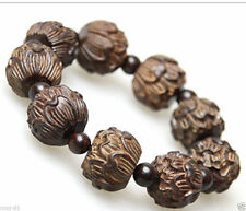 Tibet Buddha Wood Carved Lotus Flower Buddhist Prayer Bead Mala Bracelet