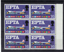 GB 1967 EFTA 1s6d Stamp VARIETY Broken STRUT Unmounted Mint Block 6 RE:Z209