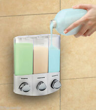 Croydex Trio Wall Mounted Triple Soap Shampoo Gel Dispenser Shower Kitchen Bath