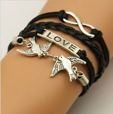 NEW Hot Infinity Love Anchor Leather Cute Charm Bracelet plated Silver DIY SL87D