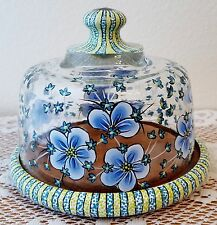 Blue & Green Flower Cheese Cookie Cake Wood Plate Glass Dome Hand Painted By Lia