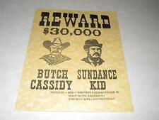 BUTCH CASSIDY & SUNDANCE KID  WANTED POSTER EXACT REPRODUCTION ON PARCHMENT