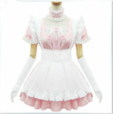 Pink/white Maidservant Lolita Outfit Party Cosplay Costume Dress Customized Size