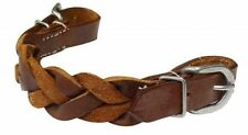 WESTERN HORSE BRAIDED LEATHER SNAFFLE CURB STRAP ATTACH TO THE BIT ON THE BRIDLE