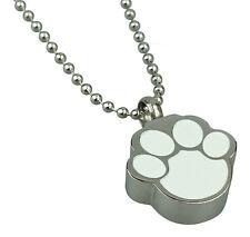 Cremation Jewellery - Memorial Ash Pet Cat Dog Urn Pendant - White Paw Print
