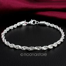Fashion Womens 925 Sterling Silver Twisted Rope Bangle Bracelet Chain Gifts QWE