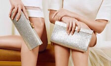 JIMMY CHOO WHITE SATIN CRYSTAL CAYLA BRIDAL CLUTCH BAG