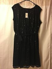NEW LANE BRYANT PLUS SIZE BLACK SEQUIN TIE WAIST DRESS SZ 18/20 FORMAL