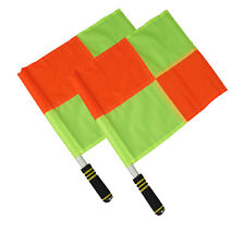 2 x Football Referee Linesman Flags World Cup Euro Premier League + Black Pouch