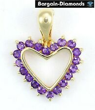 amethyst heart 14K gold pendant necklace enhancer love promise birthstone purple