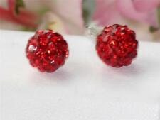 SHEA SHAMBALLA DISCO BALL TIBET EARRINGS STEEL  PIERCED EARS 8MM RED