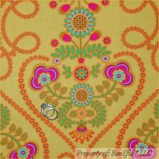 BonEful Fabric FQ Cotton Quilt Yellow Bright Pink Summer FLOWER Damask Whimsical