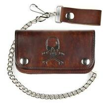 "6"" Men's Antiqued Brown Leather Wallet with Chain Skull and Crossbones Design"