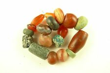 19 pcs stunning ancient mixed semi-precious stone trade beads old Sahara Africa