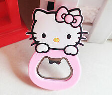 Cute Pink Silicone stainless steel Hello Kitty Novelty bottle Beer MINI Opener