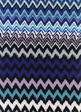 Polyester Elastane Misso Blue Zig Zag Jersey Printed Dress/Craft Fabric Material