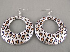 "Silver Black Brown cheetah earrings leopard animal print dangle disc hoop 3""long"