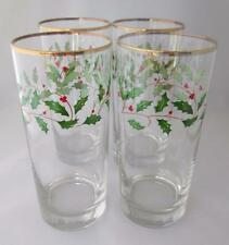 4 LENOX Holiday Holly Berry Glasses 16oz Tumblers Christmas Highball Glassware