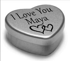 I Love You Maya Mini Heart Tin Gift For I Heart Maya With Chocolates or Mints