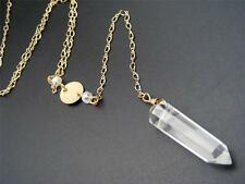 "$18 Nordstrom Faux Clear Crystal Pendant Lariat Y Necklace Goldtone 26"" Long"