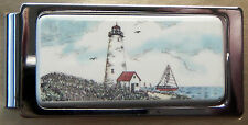 Money Clip Barlow Scrimshaw Carved Painted Art Lighthouse Hinged Coast 526226c