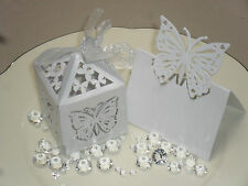 Wedding Butterfly Bomboniere Box Table Name Place Card Holder WHITE/ IVORY 20+20