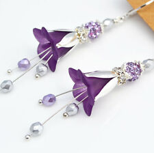 Bridesmaids Purple Lucite Flower Violet Glass Silver Modern Long Dangle Earrings