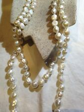 White Baroque Freshwater Real Natural Pearl 80 In Hand Knotted Necklace