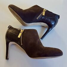 Michael Kors Womens 8 Sammy Ankle Boot Booties Brown Suede Leather High Heels