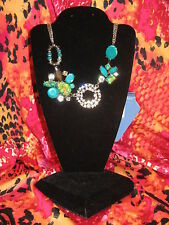 SIMPLY VERA WANG NWT $34 women's necklace aqua blue green clear stones party