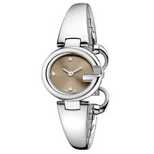 OROLOGIO GUCCI GUCCISSIMA MARRONE BROWN YA134506 LADIES 27MM DIAMANTI NEW WATCH