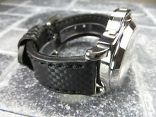New CARBON Fiber 24mm LEATHER STRAP Band Black with Black Stitch PANERAI PAM 24