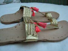 GAS BIJOUX Gold Leather KOLI SANDALS   with Pink Tassels - size 6